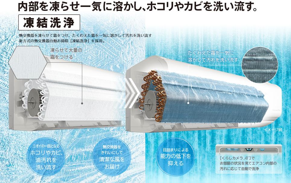 内部を凍らせ一気に溶かし、ホコリやカビを洗い流す。 日立はエコに凍結洗浄をたし算