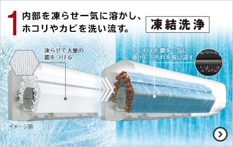 1. 内部を凍らせ一気に溶かし、ホコリやカビを洗い流す。