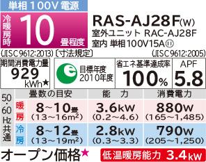 RAS-AJ28F-W 日立白くまくんルームエアコン
