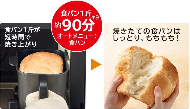 食パン1斤が短時間で焼き上がり 焼きたての食パンはしっとり、もちもち!