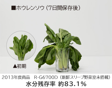 Sản phẩm của năm 2013 R-G6700D (Phòng rau tươi không ngủ) Tỷ lệ giữ ẩm Khoảng 83,1%